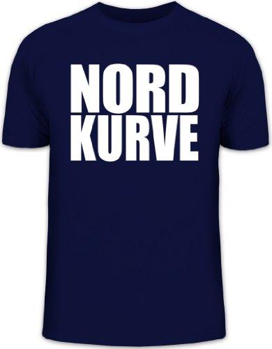 Shirtstreet24, NORDKURVE, Ultras Hamburg Schalke Fußball, Herren T-Shirt Fun Shirt Funshirt, Größe: XXL,dunkelblau