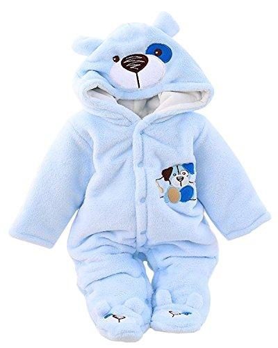 Minetom BéBé Fille Garçon Hiver Combinaison Unisexe Pyjama à Capuche Mignon Velours Rompers Chaud Épais Salopette One-piece (3-4 mois (56), Chien Bleu)