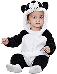 TASLAR Unisex Baby Flannel Jumpsuit Panda Style Cosplay Clothes Bunting Outfits Snowsuit Hooded Romper Outwear
