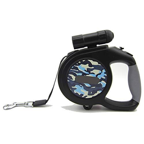 FELICIPP Haustier-automatisches teleskopisches Zugkraft-Seil mit Taschenlampen-Traktor-mittleren und großen Hunden, 8 Meter (Color : Camouflage Blue, Size : 8 Meters)
