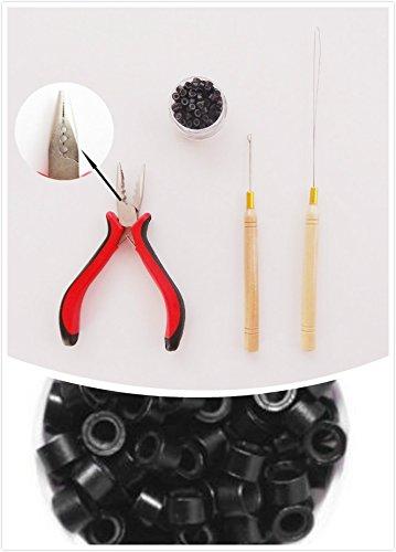 1Flasche/200Micro links/Beads + 1Ziehen Nadel + 13Löcher Zange Hair Extensions Tool Kit