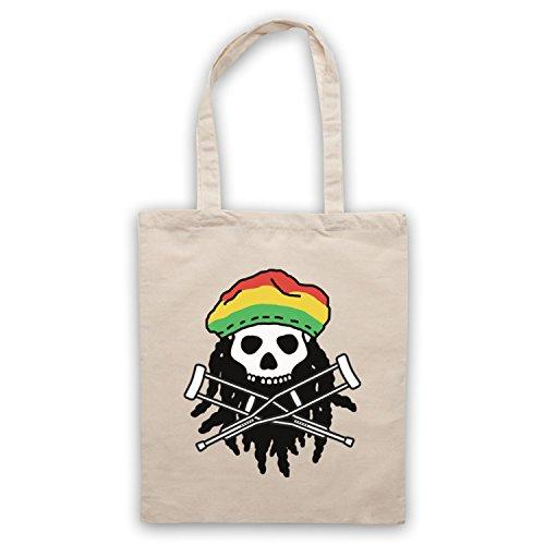 Inspiriert durch Jackass Skull & Crossbones Logo Rasta Inoffiziell Umhangetaschen Naturlich