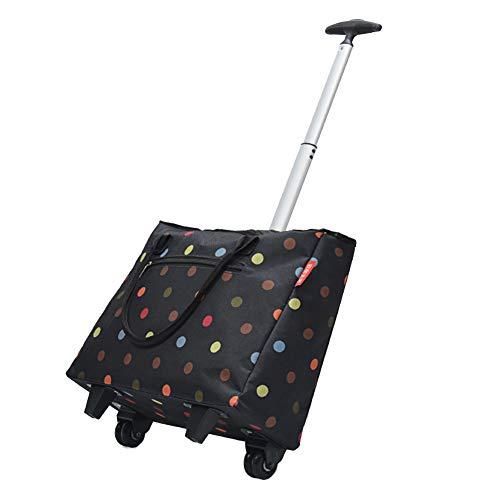 QIANGDA-Handwagen Einkaufstrolley Faltbar Einkaufswagen Reisewagen Koffer Leicht Tragbar Grosse Kapazität, Gefaltete Größe 43 X 16 X 35cm, 2 Farben (Farbe : 1#)