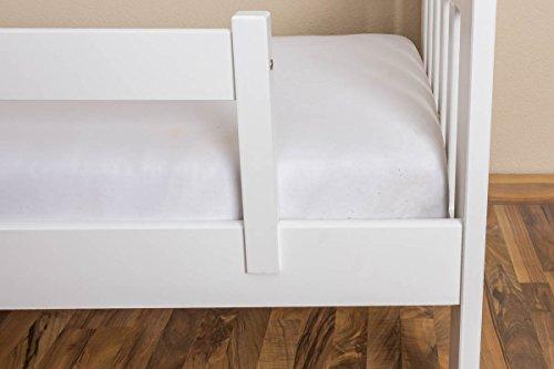 Kinderbett / Juniorbett Kiefer massiv Vollholz weiß lackiert 95, inkl. Lattenrost - 90 x 200 cm (B x L) - 4