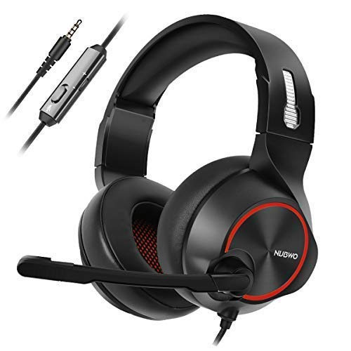 NUBWO Gaming Headset PS4, N11 Xbox One Stereo Wired PC Gaming Headphone mit Rauschunterdrückungsmikrofon, Over-Ear Kopfhörer mit Mute Kontrol für PC, Mac, Playstation 4, Xbox 1 Game- Red