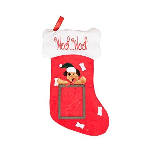 Clever Creations - Calza di Natale a Tema Cane - con Cornice per Foto da 10 x 13 cm - in Morbido Tessuto e Ideale per Bambini e Adulti - per Piccoli Regali e dolcetti - Rosso e Bianco - 47 cm