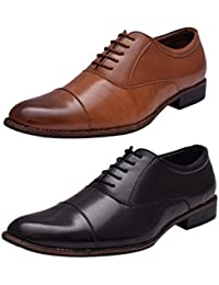 Sir Corbett Men's Synthetic Oxford Lace Up Shoes(Combo Of 2 At 1800)