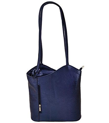Freyday 2 in 1 Handtasche Rucksack Designer Luxus Henkeltasche aus Echtleder in versch. Designs (Glattleder Schwarz)