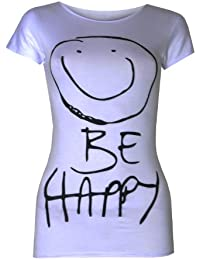 (Womens Smiley Be Happy Tshirts AQA) Femmes Smiley être heureux T-shirts