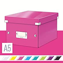 Leitz A5 Storage Box, Click and Store Range 60430023 - Small, Pink