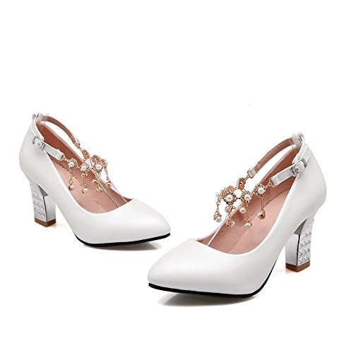 VogueZone009 Femme Fermeture D'Orteil Pointu à Talon Haut Boucle Couleur Unie Chaussures Légeres Blanc