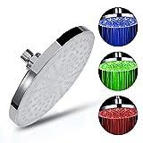 Garsent LED Kopfbrause, Rund RGB Regendusche Einbauduschköpfe Farbwecksel Brausekopf für Badezimmer