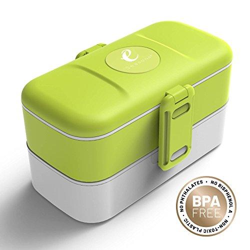 eSeasons Bento Lunch-Box auf 2 Ebenen mit 4 auslaufsicheren Fächern. Hervorragend für Erwachsene und Kinder in Schule und Kindergarten. Spülmaschinen-und Mikrowellengeeignet. Passt gut in Rucksäcke und Taschen. Weiß und Grün, Edelstahlbesteck, BPA frei, Fassungsvermögen 1,2L (Edelstahl Brot Box)