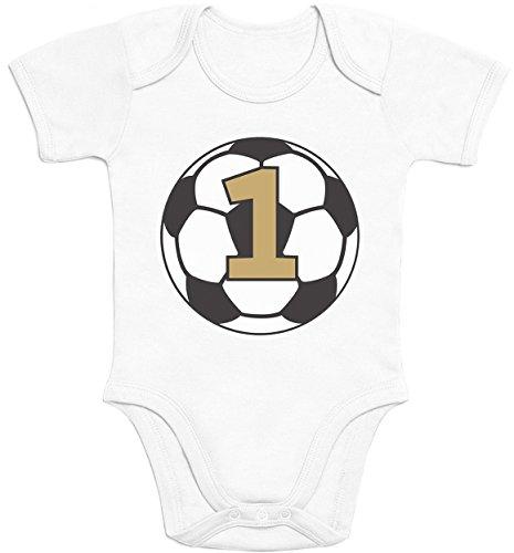 Shirtgeil Geschenke Zum 1 Geburtstag Fussball - 1 Jahr Geschenk Baby Body Kurzarm-Body 81/86 (12-18M) Weiß - Fußball Body