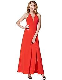 81007731fe Ever Pretty Women s V-Neck Halter Split Maxi Floor Length Evening Cocktail  Bridesmaid Dress 07247