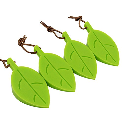 Aussel Silikon-Tür-Stopper-Keil-Finger-Schutz, 4er-Pack Premium-nette Karikatur-Blatt-Art-flexible Silikon-Fenster / Türstopper Set mit Lanyard für Hausgarten -Büro (Green)