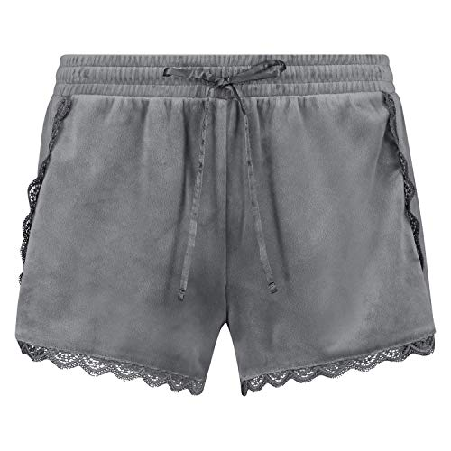 Hunkemöller Damen Shorts Velours Lace S,Silver Grey [163335]