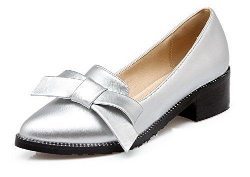 AllhqFashion Femme Tire à Talon Correct Pu Cuir Couleur Unie Pointu Chaussures Légeres Argent