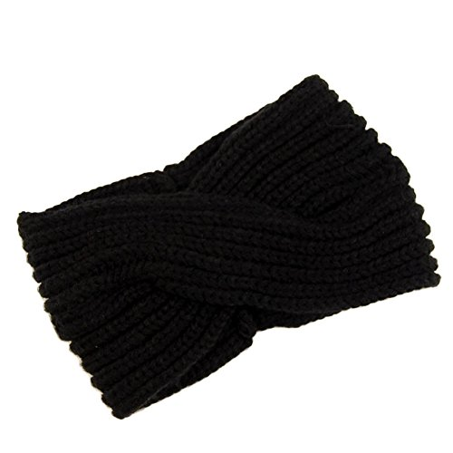 Butterme Twisted Knotted Crochet Strick Stirnband Damen Frauen Turban Kopftuch Bandanas Kopfband Haarband Ear Warmer Haarband (Schwarz) -