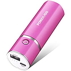 POWERADD Slim2 5000mAh Chargeur Portable Batterie de Secours Externe pour t¨¦l¨¦Phone Potable (Adaptateurs Apple Non Inclus) et d'autres Appareils Charg¨¦s Via USB 5V-Rose Rouge