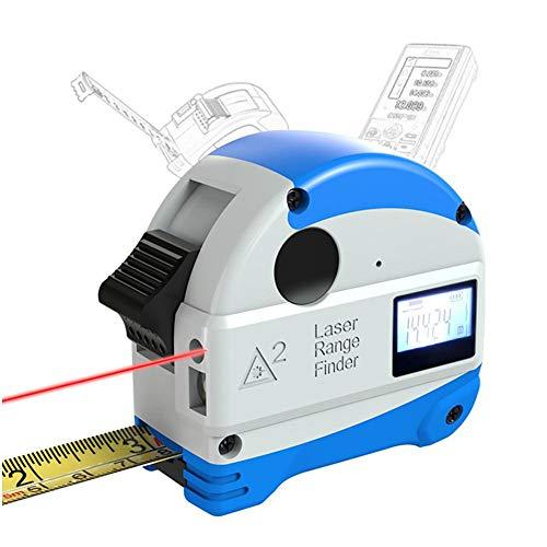 bulrusely 2 in 1 Misura Nastro 5M + Telemetro Laser 30M, Misura Nastro con Batteria 300mA, Ricarica USB Display LCD Digitale Misura Nastro E Misurazione Laser, Antipolvere Antipolvere Impermeabile