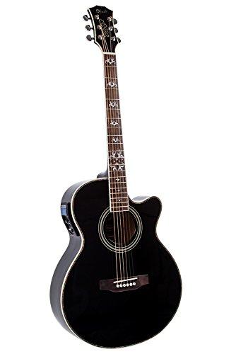 Lindo LDG-BF Elektro-Akustik Gitarre mit Vorverstärker/digitalem Tuner/XLR-Ausgang/Klinkenbuchse/Gitarrentasche Black Fire