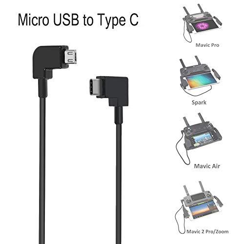 O'woda Micro USB a Tipo C Cavo OTG Dati 30cm Connettore di trasferimento DJI Mavic PRO/ Spark/ Mavic Air/ Mavic 2 PRO & Zoom ad Android Micro USB Phone/Tablet