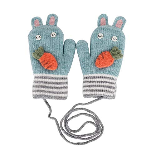 YSXY Süße Fäustlinge Baby Kleinkind Gestrickte Handschuhe für 1,2,3 Jahre Jungen Mädchen Winter Warme Strickhandschuhe mit schnur Fleece-Innenfutter, Rübe-blau, ()