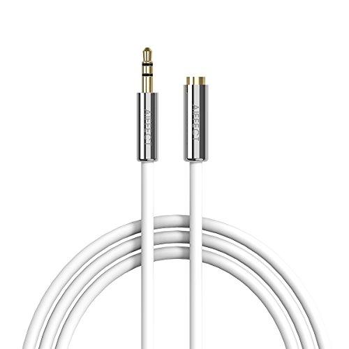 3.5mm Audio verlängerung Kabel, AIFFECT 1m AUX Stecker auf Buchse Kopfhörer Ohrhörer Stereo Audio Klinken Verlängerungskabel - Silber