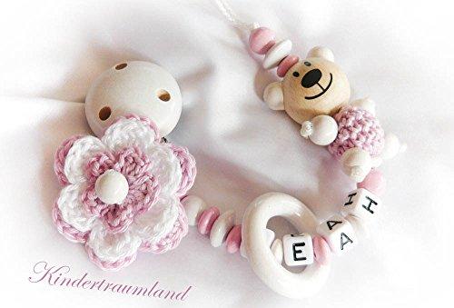 Baby Schnullerkette für Mädchen mit Teddy und Wunschnamen - Kinder - Geschenk zur Geburt, Taufe - Länge: max. 22cm (ohne Clip) - (weiß, rosa, bär)