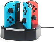 AmazonBasics Ladestation für 4 Joy-Con-Controller der Nintendo Switch, 0.792M langes Kabel, Schwarz