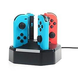 AmazonBasics – Postazione di ricarica per 4 controller Joy-Con di Nintendo Switch, cavo da 7,92 m, nero