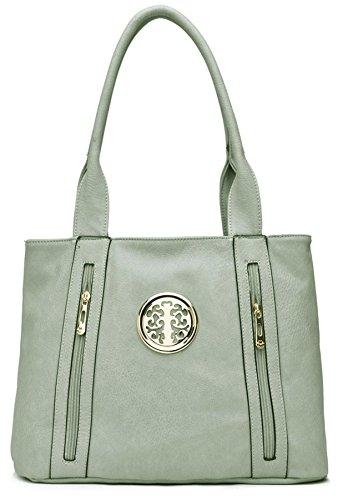 Big Handbag Shop da donna in ecopelle 2tasca frontale con cerniera Maniglia Superiore Borsa a tracolla Light Grey (ST367)