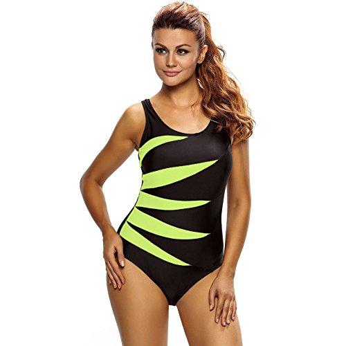 Erica Frauen Plus Size Beach One Piece Bikinis Badebekleidung Kontrast Patchwork Wireless Gepolsterte BH Badeanzug #3