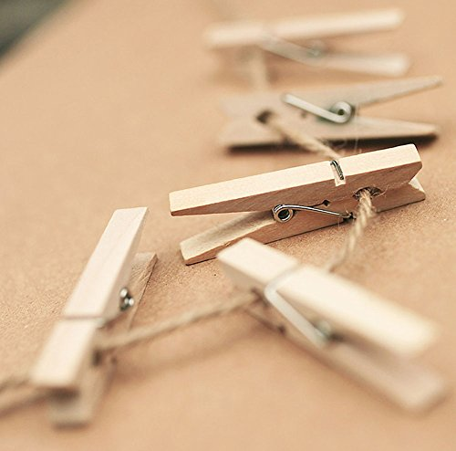 Qinlee 50pcs Natural Wooden Photo Clips Clothes Paper Mini Wooden Pegs Clothespins Clips for Hanging Photos Art Craft DIY Picture