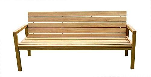 SAM® Teak-Holz Gartenbank mit Rückenlehne, massive Sitzbank für bis zu 3 Personen, ideal für Garten Terrasse Balkon oder Wintergarten, ca. 155 x 65 cm [521214] - 3