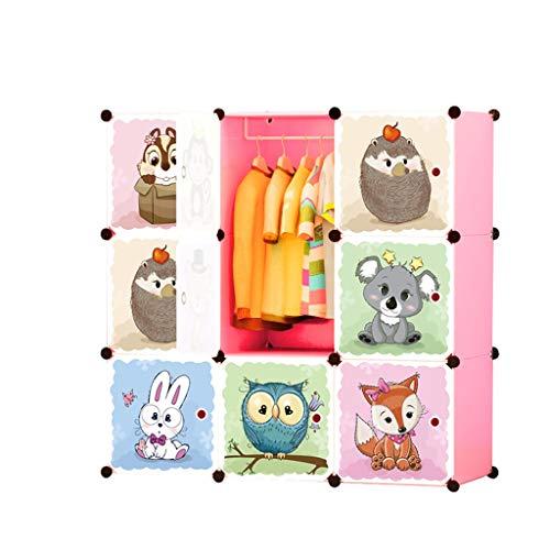 Armario La Ropa de los niños Gabinete niños montaron Dibujos Animados de combinación Simple Gabinete de Almacenamiento Multi-Rejilla bebé FANJIANI
