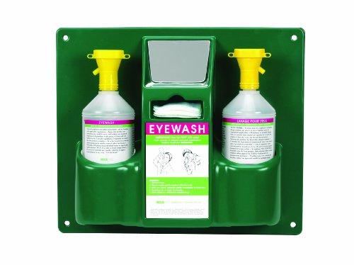 Heathrow Scientific HD1020B Personal Eyewash Station with Two 2L Bottle, 355 mm Width x 425 mm Height x 105 mm Depth, Green