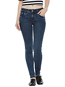 df4e6edc88 Miss Chase Women's Dark Blue Relaxed Fit Mid Rise Regular Length Stone Wash  Denim Stretchable Jeans