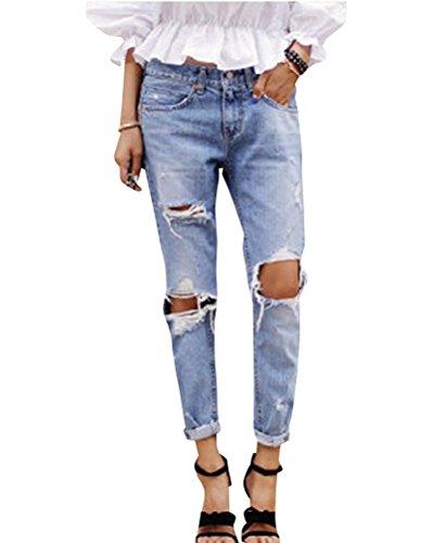 Donne elastico jeans grandi del ginocchio strappati femminili pantaloni slim skinny come immagine l