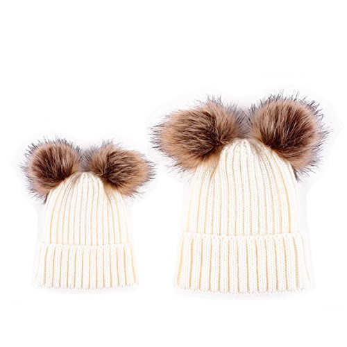 ter Strickmütze Beanie Bobble Hats Stilvolle Double Kunstfell Pom Poms Warm Ski Beret Cap, White( 1 Mother's Hat + 1 Baby's Hat) (Niedlich Passenden Outfits Familie)