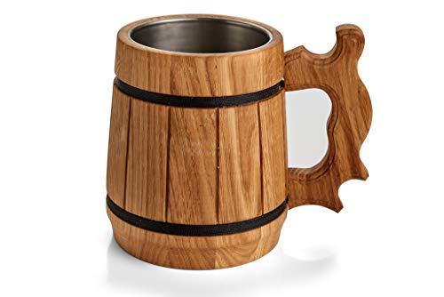 Bierkrug aus Holz, mit Metall gefüttert, handgefertigt, Eichenholz, groß und robust, langlebig, natürlich, umweltfreundlich Metall-gefüttert