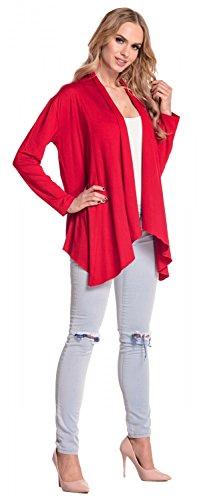Glamour Empire Damen Wasserfall-Jacke Shirtjacke mit lange Ärmel. 320 Rot