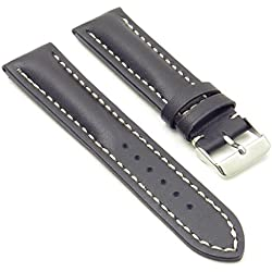 DASSARI Transit Black Smooth Leather Watch Band for BREITLING 22/20 22mm