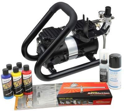 Iwata Custom Graphics Airbrush Kit mit Power Jet Plus Tank Kompressor -