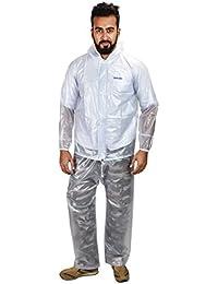 New Era Unisex Transparent Heavy Pvc Rain Coat and Pant Suit for Bikers (White, paltictac-xl)