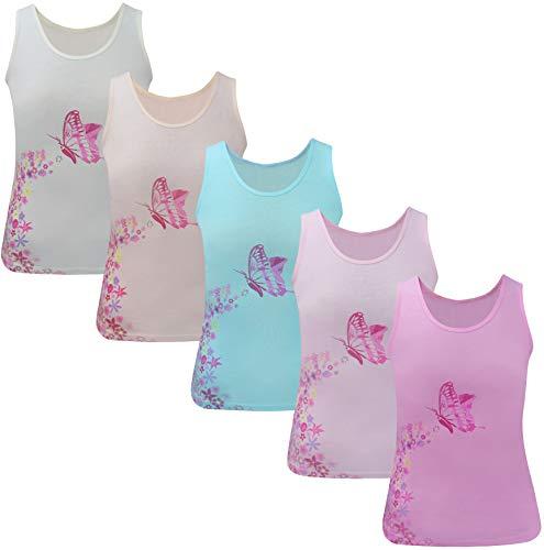 5 Stück Mädchen Unterhemd Tank Top (134-140 (8-9 Jahre), Modell 1-5 STÜCK) - Mädchen Unterhemd