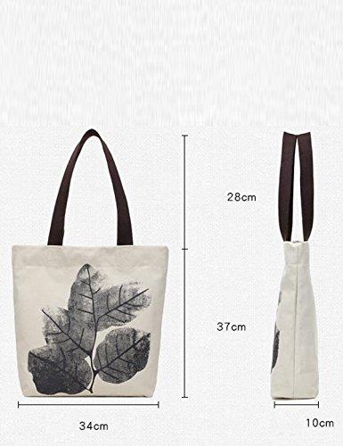 Borsetta Di Tela Di Canapa Da Donna Tote Borsa A Tracolla Per Il Tempo Libero Dipinto A Mano Stampa Lady Bag Brown