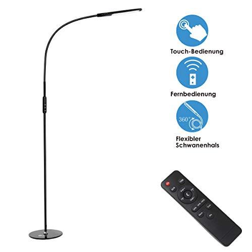 imiGY 9W Stehlampe Led Dimmbar, Led Stehlampe Dimmbar Fernbedienung, Flexible Schwanenhals Licht mit Touch, 5-Level-Helligkeit und Farbtemperatur Dimmbare Eye-Care-Technologie Licht, Schwarz