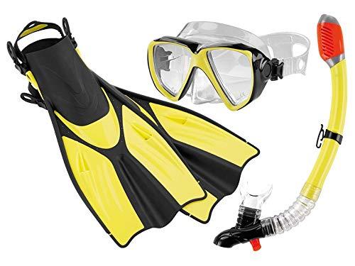 Crivit Professionelles Profi Tauch und Schnorchelset Komplett-Set Tauchmaske Schnorchel mit integrierter Signalpfeife und Jet-Fin-Flossen (M, Gelb)